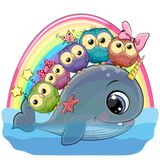 Cartoon Whale with with horn and five owls vector illustration
