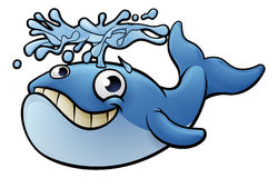 Cartoon Whale. An illustration of a whale cartoon character squirting water from its blow hole Royalty Free Stock Photos