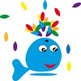 Cartoon whale on isolated background Stock Photography