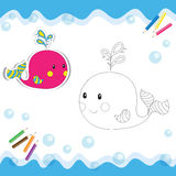 Cartoon whale. Isolated on white. Coloring book. Vector illustration Royalty Free Stock Images
