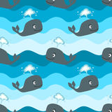 Cartoon whale in the ocean seamless pattern illustration background Stock Photo