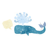 Cartoon whale with speech bubble Royalty Free Stock Photos