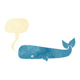 Cartoon whale with speech bubble Stock Photo