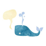 Cartoon whale with speech bubble Royalty Free Stock Image