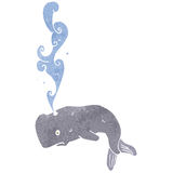 Cartoon whale squirting water Royalty Free Stock Image
