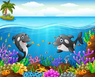 Cartoon whale under the sea. Illustration of cartoon whale under the sea Royalty Free Stock Photos
