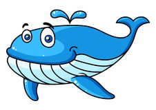 Cartoon whale with a water spout Royalty Free Stock Photography