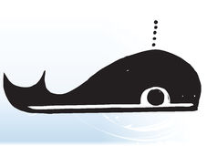 Cartoon whale on wave Royalty Free Stock Images