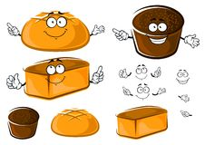 Cartoon wheat and rye brown breads characters Royalty Free Stock Images
