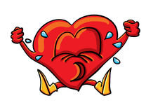 Cartoon whimsical heart is crying Royalty Free Stock Image