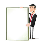 Cartoon White Businessman Holding A Blank Sign Stock Images