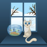 Cartoon white cat and aquarium with fishes on a window sill, vector illustration Royalty Free Stock Photo