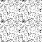 Cartoon white cats, birds and flowers. Colorful Seamless Pattern. Stock Photography