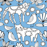 Cartoon white cats, birds and flowers. Colorful Seamless Pattern. Royalty Free Stock Images