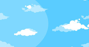 Cartoon white clouds moving side over blue sky stock video footage