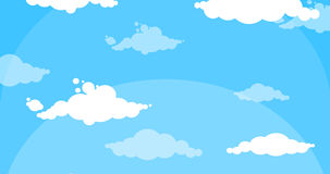 Cartoon white clouds moving up blue sky stock video