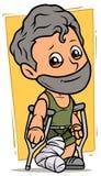 Cartoon bearded boy character with broken leg. Cartoon white cute flat bearded smiling boy character with broken leg in gypsum with crutches. On yellow stock illustration