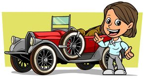 Cartoon white cute flat smiling brunette girl character with retro vintage luxury red convertible car with spare wheel on yellow. Background. Vector icon vector illustration