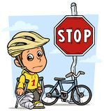 Cartoon crying boy character with broken leg. Cartoon white cute standing flat crying boy character in protective helmet with bicycle and red stop traffic sign vector illustration
