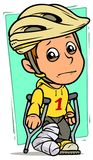 Cartoon crying boy character with broken leg. Cartoon white cute standing flat crying boy character in protective helmet with broken leg in gypsum with crutches vector illustration