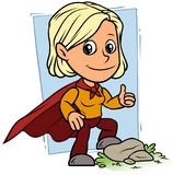 Cartoon girl character in red superhero cape stock illustration