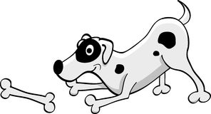 Cartoon white dotted dog playing with a bone Royalty Free Stock Images