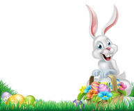 Cartoon White Easter Bunny Egg Basket Stock Photo