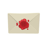 Cartoon white envelope with red wax seal isolated on white background. Royalty Free Stock Photo