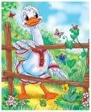 Cartoon white goose standing near the fence fairytale scene royalty free illustration