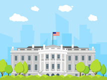 Cartoon White House Building. Vector Royalty Free Stock Photo
