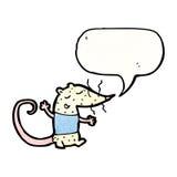 Cartoon white mouse with speech bubble Stock Photos
