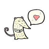 Cartoon white mouse with speech bubble Stock Photo