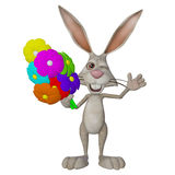 Cartoon white rabbit, bunny with flowers Royalty Free Stock Photography
