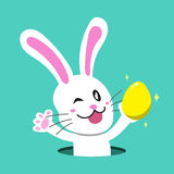 Cartoon a white rabbit with easter egg Royalty Free Stock Photo