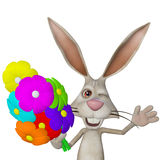 Cartoon white rabbit with flowers Stock Photography