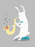 Cartoon white rabbit playing the saxophone. Vector illustration. Eps 10. Cartoon white rabbit playing the saxophone Stock Images