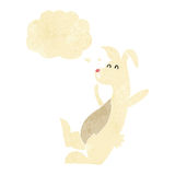 cartoon white rabbit with thought bubble Stock Photos