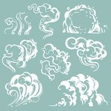 Cartoon white smoke and dust clouds. Comic vector steam isolated. Line cartoon cloud dust and fog, effect bubble air illustration royalty free illustration