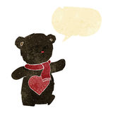 cartoon white teddy bear with love heart with speech bubble Royalty Free Stock Photos