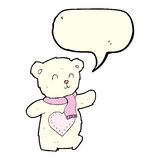 Cartoon white teddy bear with love heart with speech bubble Stock Photos