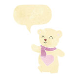 Cartoon white teddy bear with love heart with speech bubble Royalty Free Stock Photography
