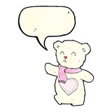 Cartoon white teddy bear with love heart with speech bubble Stock Images