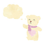 Cartoon white teddy bear with love heart with thought bubble Stock Image