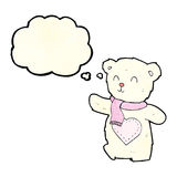 Cartoon white teddy bear with love heart with thought bubble Royalty Free Stock Photography