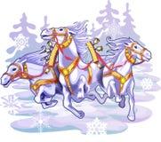 3 cartoon white winter horses. Cartoon illustration with three white winter horses on snow background Stock Photography