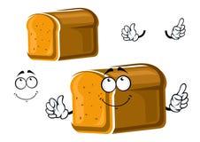 Cartoon whole grain bread character Royalty Free Stock Image