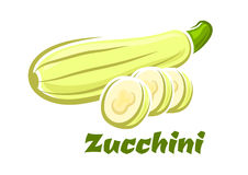 Cartoon whole and sliced fresh zucchini vegetable Stock Photography