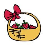 Cartoon wicker basket of strawberries. Vector illustration stock illustration
