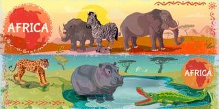 Cartoon Wild Africa Horizontal Banners Royalty Free Stock Photo