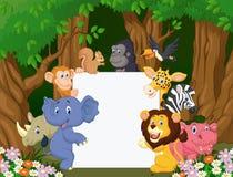 Cartoon wild animal holding blank sign Royalty Free Stock Photos